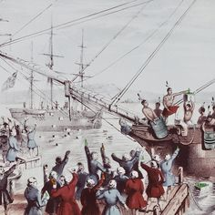 Dec. 16, 1773. The Boston Tea Party took place when American colonists disguised as Indians boarded a British ship and dumped tea into Boston harbor.
