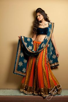 Blue and orange lengha