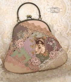 Crazy Quilted Evening Purse with Clasp Frame by HummingNeedles