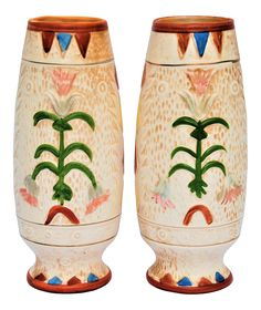 Unusual pair of arts and crafts style vases made by Pacific pottery in Japan. Hand painted details and unusual designs make these vases grab anyone's attention. Perfect for the mantle!! (Dimensions are for one vase) These are pre-owned pieces so please see all pictures and ask any questions.