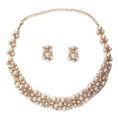 Pearl and Gold CZ Necklace Set