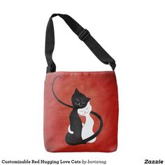 Customizable Red Hugging #Love #Cats Tote #Bag