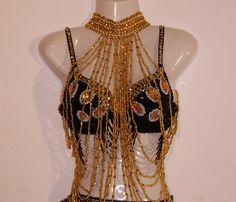 Kralen sieraad halssnoer GOUD  buikdans gogo dans showdance Burlesque - Beaded necklace bellydance showdance Burlesque gogo dance GOLD