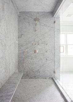 Shower bench on long wall. Gray Marble Slab Shower Surround with Long Floating Shower Bench, Transitional, Bathroom Shower Seat, Shower Floor, Huge Shower, Shower With Bench, Shower Benches, Shower Walls, Bad Inspiration, Bathroom Inspiration, Interior Inspiration