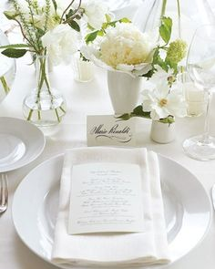 White Menu #wedding #menu http://www.marthastewartweddings.com