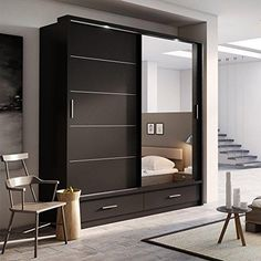 Brand New Modern Bedroom Mirror Sliding Door Wardrobe Arti 5 in Black – Josef's Furniture