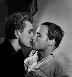 """James Dean (1931-55) Kisses Marlon Brando (1924-2004)—with a Decidedly Gay Side* Living, as they did, in very homophobic times, the two —gay, straight or bi! """"when questioned"""" by others, he provided a more nuanced reply, suggesting he was bisexual: """"No, I am not a homosexual. But, I'm also not going to go through riences and I am not ashamed. I have never paid much attention to what people think about me."""""""