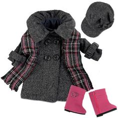 Doll Dress Coat fits American Girls Dolls, 4 Pc. 18 Inch Doll Coat/Clothing Set Includes Stylish Gray Coat, Doll Hat, Plai... (bestseller)