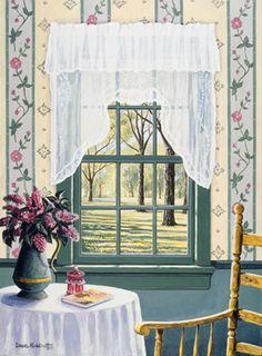 Beautiful Newfoundland artwork captured by artist Dave Hoddinott Open Window, Window Art, Garden Windows, Through The Window, Coastal Art, Canadian Artists, Newfoundland, Windows And Doors, Room Interior
