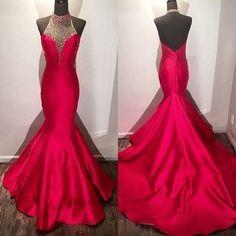 New Arrival Prom Dress,Modest Prom Dress,beaded halter long satin fuchsia mermaid evening dress,long prom dresses 2017 with open back