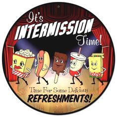 This Intermission Time Dancing Snacks Home Theater Vintage Steel Sign features a conga line of classic movie theater treats dancing across the movie theater stage. Great wall decor for a home theater! 28 in. Leaf Wall Art, Metal Tree Wall Art, Metal Wall Decor, Metal Art, Tree Wall Decor, Unique Wall Decor, Wall Art Decor, Vintage Metal Signs, Vintage Walls