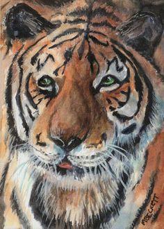 ACEO Original Painting Tiger cat wildlife animals stripes endangered orange brow #Impressionism