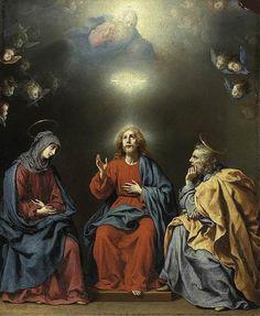 Carlo Dolci, Sagrada Familia con Dios Padre y el Espíritu Santo, ca. 1630, de composición similar a la obra de Murillo, pero con Cristo adulto.