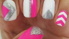 DIY Nails ~Pink Chevron ~Pink and Silver ~Dripping Paint ~MORE