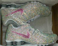 Custom Nike Shox Designed Shoes - Swarovski Crystal Designs -Custom Shoes - Made… Nike Shox Shoes, Nike Air Shoes, Bling Shoes, Glitter Shoes, Sparkly Shoes, Custom Design Shoes, Custom Shoes, Crystal Rhinestone, Swarovski Crystals