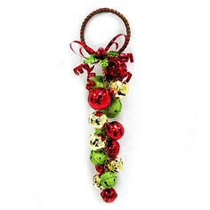 14.75-in Red, Green and Gold Bell Door Hanger