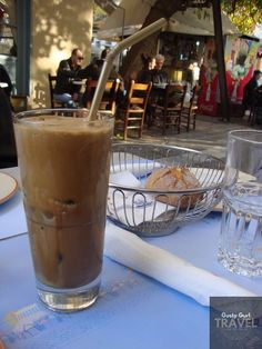 Iced coffee, Outdoor Cafe, Athens, Greece Outdoor Cafe, Athens Greece, Iced Coffee, Pint Glass, Travel Photography, Beer, Mugs, Tableware, Ale