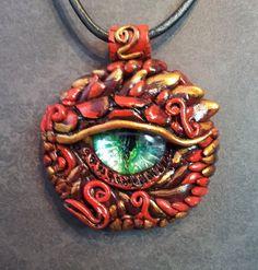 Red Dragon Eye Pendant by MakoslaCreations on Etsy, $20.00