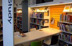 cool study area enhanced w/lights Lighting   Demco Interiors - Inspiring Library Design