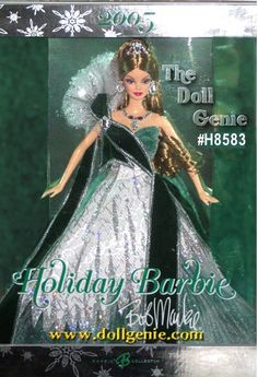 The 2005 holiday season brings a breathtaking addition to the Holiday Barbie doll tradition! Created by renowned designer Bob Mackie, the Sears Exclusive Holiday Barbie doll wears a gown beautifully crafted of glitter printed jacquard, mushroom pleated tulle, green sparkle organza and satin. The flock sash features a silvery edge. A glitter printed starburst design embellishes the shoulder. Brooch, necklace, earrings, and crown are the lovely accessories. This doll is the Blonde Version.
