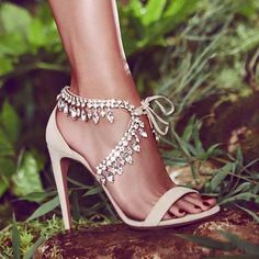 Aquazzura 'Milla' Crystal-Embellished Metallic Leather Sandals