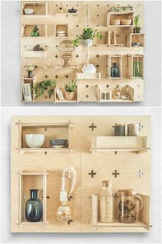 Pegboard wall system with functional wall panels and durable plywood shelves. Allows you to organise your home office, kitchen area, hallway or your child's bedroom in an easy way. You can create and arrange your shelves across the pegboards exactly how you want. Via en.DaWanda.com.