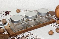 Walnut serving tray with glass jars organic by JaraKacaHandmade Wooden Crafts, Glass Jars, Dinnerware, Tray, Organic, Snacks, Dining, Home Decor, Dinner Ware