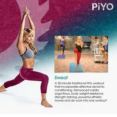 The very best Pilates- and yoga-inspired moves are cranked up to give you full-throttle cardio, strength, and flexibility training—all at once. PiYo packs it ALL into each workout so you can build lean muscle mass—as you're burning crazy calories. You'll use your body weight to perform a series of continuous, targeted moves, to burn fat as you redefine every single muscle. No weights. No jumps. Just hardcore results. #PiYo
