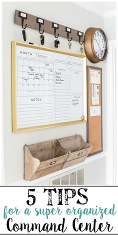 A junk-filled kitchen wall gets a drastic makeover with a simple command center using smart ways to keep mail, schedules, keys, and documents organized.  #commandcenter #organization #mailorganizing #kitchenorganization