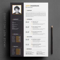 One Page Resume Template, Resume Design Template, Creative Resume Templates, Cv Template, Creative Cv, Curriculum Vitae Layout, Curriculum Vitae Template Free, Infographic Resume, Folder Design