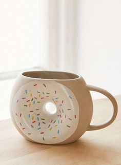 *Affiliate Link -- Donut mug from Urban Outfitters. Great gift for your donut loving, coffee drinking friends! Ceramic Mugs, Stoneware, Ceramic Pottery, Urban Outfitters, Cool Mugs, Great Coffee, Funny Coffee Mugs, Funny Mugs, Coffee Quotes