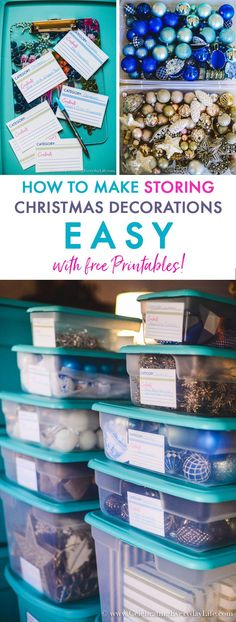 How to Make Storing Christmas Decorations Easy with free Organizing Printables. Are you packing up your Christmas decorations in storage tubs? Then, you don't want to miss this super simple method! Home Organization- How to Organize Storage Bins with Free Printables, How to Organize Storage Bins, Christmas Storage, Holiday Storage, Christmas organization, holiday organization, organizing Christmas decorations, organized holiday decor, labels, free printables, free printable tags