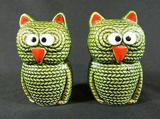 Fantastical Bird Salt And Pepper Shakers. Owl Salt Pepper Shakers Vintage Old Japan Ceramic Green Knit Design 4 Tall Eva Zeisel Fantasy and by