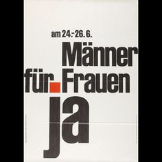 It s  internationalwomensday  Swiss men had to vote  yes  so that women were allowed to vote at all  This  poster asked men to do so in 1966  They finally did it in 1971  by museumgestaltung