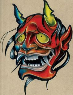 Smola Hannya by Corey Smola Asian New School Tattoo Canvas Art Print