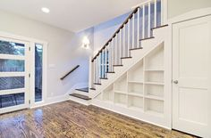 Basement Stairs Ideas | Bookshelves under stairs- absolutely!