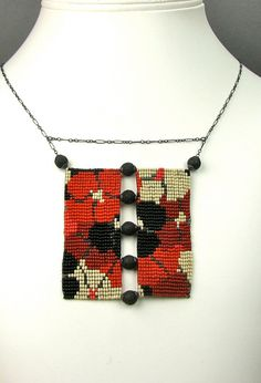 """Loom Work Beaded Necklace """"California Dream"""" - red, black and ivory"""