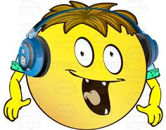 Excited Yellow Smiley Face Emoticon With Arms, Brown Hair and Headphones With Pointy Teeth #animated #computer #delighted #eager #ecstatic #emotion #excited #expression #face #feeling #icon #mood #PDF #smiley #thrilled #vector-graphics #vectors #vectortoons #vectortoons.com
