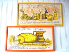 Wonderful pair of hand decorated framed pen and ink drawings from Soovia Janis Inc. of Fifth ave. art by Jacque. We have Garlic Bread 1969 and Roquefort Dressing 1973. Colors are bright and both are in good condition. Frames are painted wood. Ready to hang.    Each measures:8-1/2 X 16-3/4 X 1/2 deep    *I gladly offer World wide shipping and combined shipping rates when multiple items are purchased.    *To see more fun vintage Items from my shop…