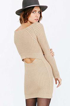 Silence + Noise Surplice-Back Sweater Dress