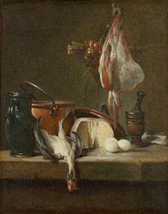 Jean Baptiste Simeon Chardin, French, 1699–1779. Still Life with Ray, Chicken, and Basket of Onions, about 1732, oil on canvas: I like the textures in this painting: The round curves of the bowls and eggs versus the sharp lines of the chicken.
