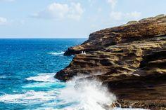 Destination Wedding. Sea cliff. Ocean wedding couple. Waves crashing bride and groom photo. Oahu. Hawaii. Maui. Ally Papko Photography & Design. International Wedding Photographer. Boudoir Photographer. Winnipeg www.allypapko.com