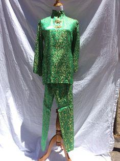 Vintage Green & Gold 60's Pant Suit