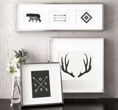 Black and White Home Decor, Black and White Interior Design, Black and White Art Collection, Printable Art, Black and White Interiors Inspiration, Antlers, Arrows, Nordic Ikat, Bear Prints, Room Inspiration