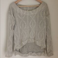 High low grey sweater Light gray sweater with pattern. Has wide neck. Super comfy. Medium. Sweaters Crew & Scoop Necks