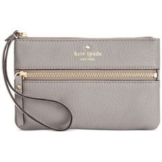 kate spade new york Cobble Hill Bee Wristlet (£51) ❤ liked on Polyvore featuring bags, handbags, clutches, hare grey, kate spade handbag, leather wristlet, gray leather purse, kate spade purses and genuine leather purse