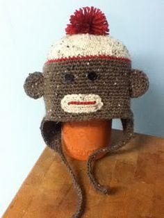 Sock Monkey Hat- Adult size free #crochet #hat #pattern