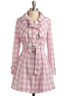 $49.99 Candy Connoisseur Coat. Feel free to enjoy sugary pleasures when wrapped in this bubble gum-plaid trench coat featuring functional, marshmallow buttons and delightful, silver buckles along its removable belt and cuffs. Side pockets, shaping seams, and a fully lined interior are just a few of the fun factors, which make this pretty-in-pink piece truly delectable. Wear it over a cotton frock with stacked-wood wedges and a sweet smile…