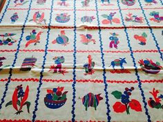 Mexico Print Scarf Mexican Motif Cloth  Cotton 1950's by Oldylocks