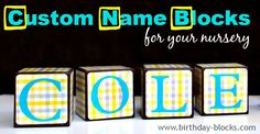 Give your nursery that special touch with #NameBlocks to match your decor! #BirthdayBlocks #babyshower http://www,birthday-blocks.com
